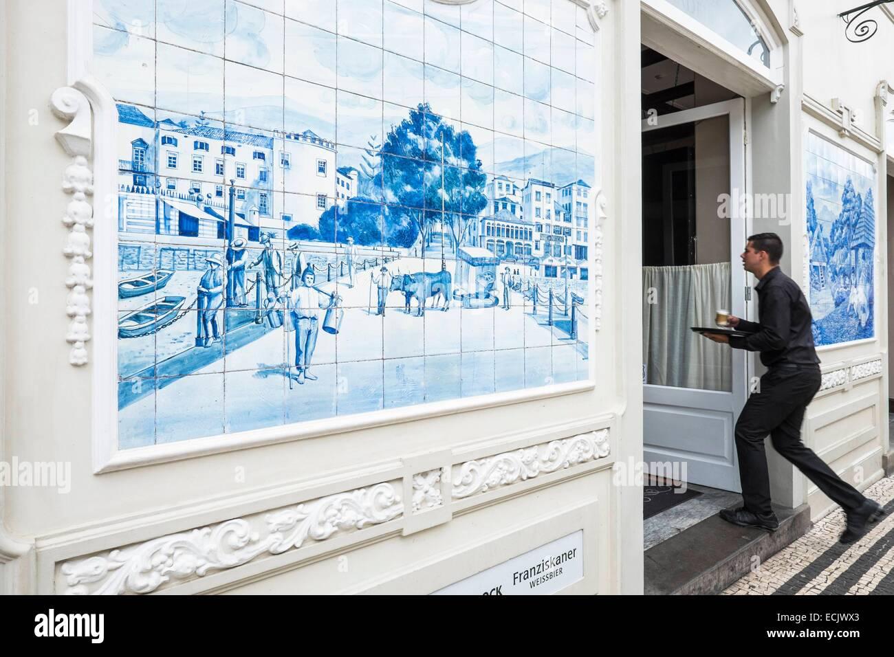 Portugal, Madeira island, Funchal, azulejos of the Ritz Cafe on Avenida Arriaga - Stock Image