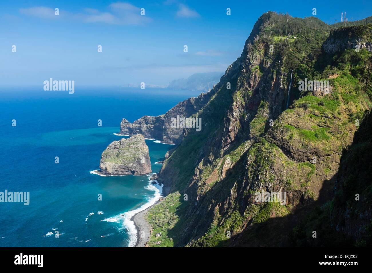 Portugal, Madeira island, Santana on the north coast, Rocha do Navio Nature Reserve Stock Photo
