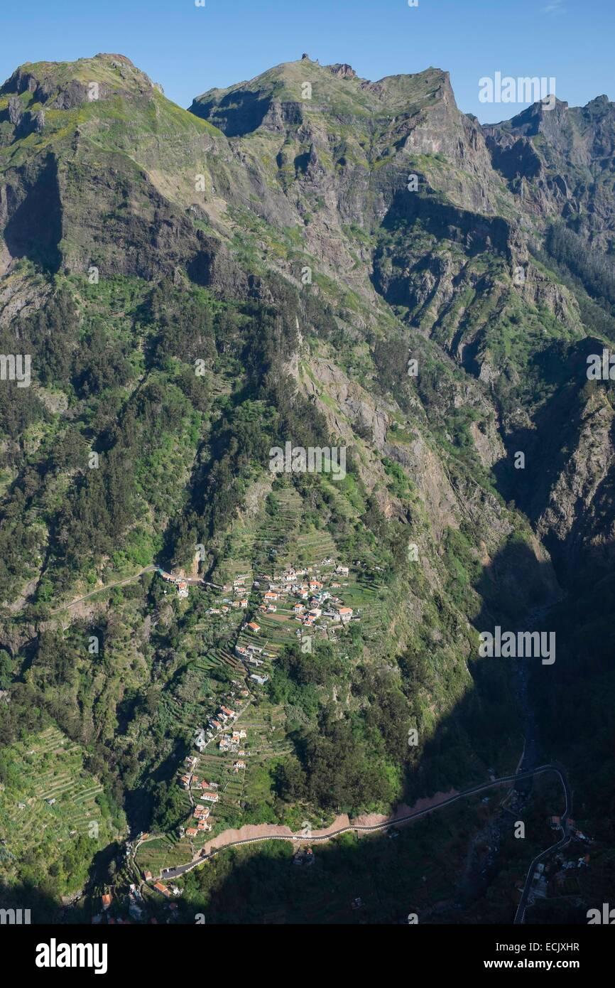 Portugal, Madeira island, the surroundings of Curral das Freiras, from the view point of Eira do Serrado - Stock Image