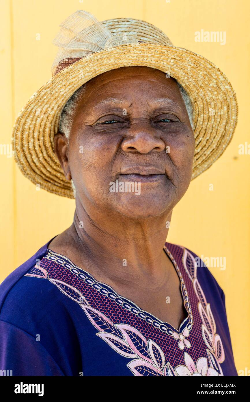 France, Guadeloupe (French West Indies), Marie Galante, Saint Louis, a villager - Stock Image