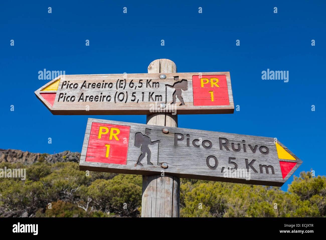 Portugal, Madeira island, hike between Pico Ruivo and Pico Arieiro - Stock Image