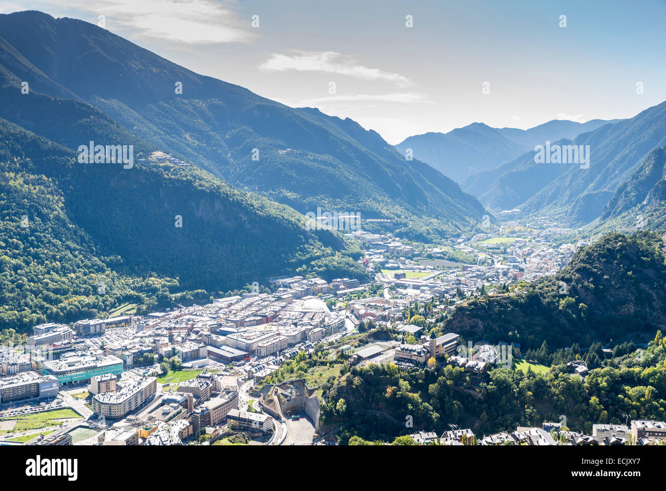 city of Andorra La Vella view from the mountain - Stock Image