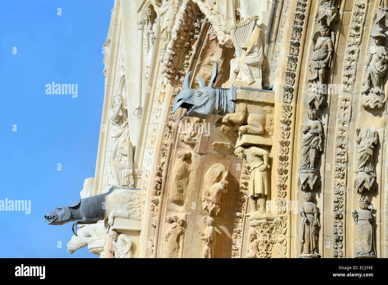 France, Marne, Reims, Notre Dame de Reims cathedral, listed as World Heritage by UNESCO, western façade, lead - Stock Image