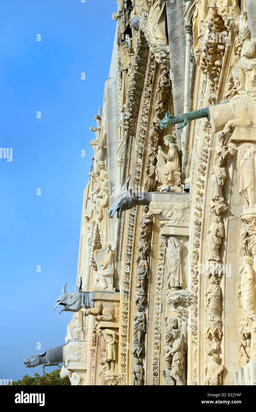 France, Marne, Reims, Notre Dame de Reims cathedral, listed as World Heritage by UNESCO, western façade gargoyles - Stock Image