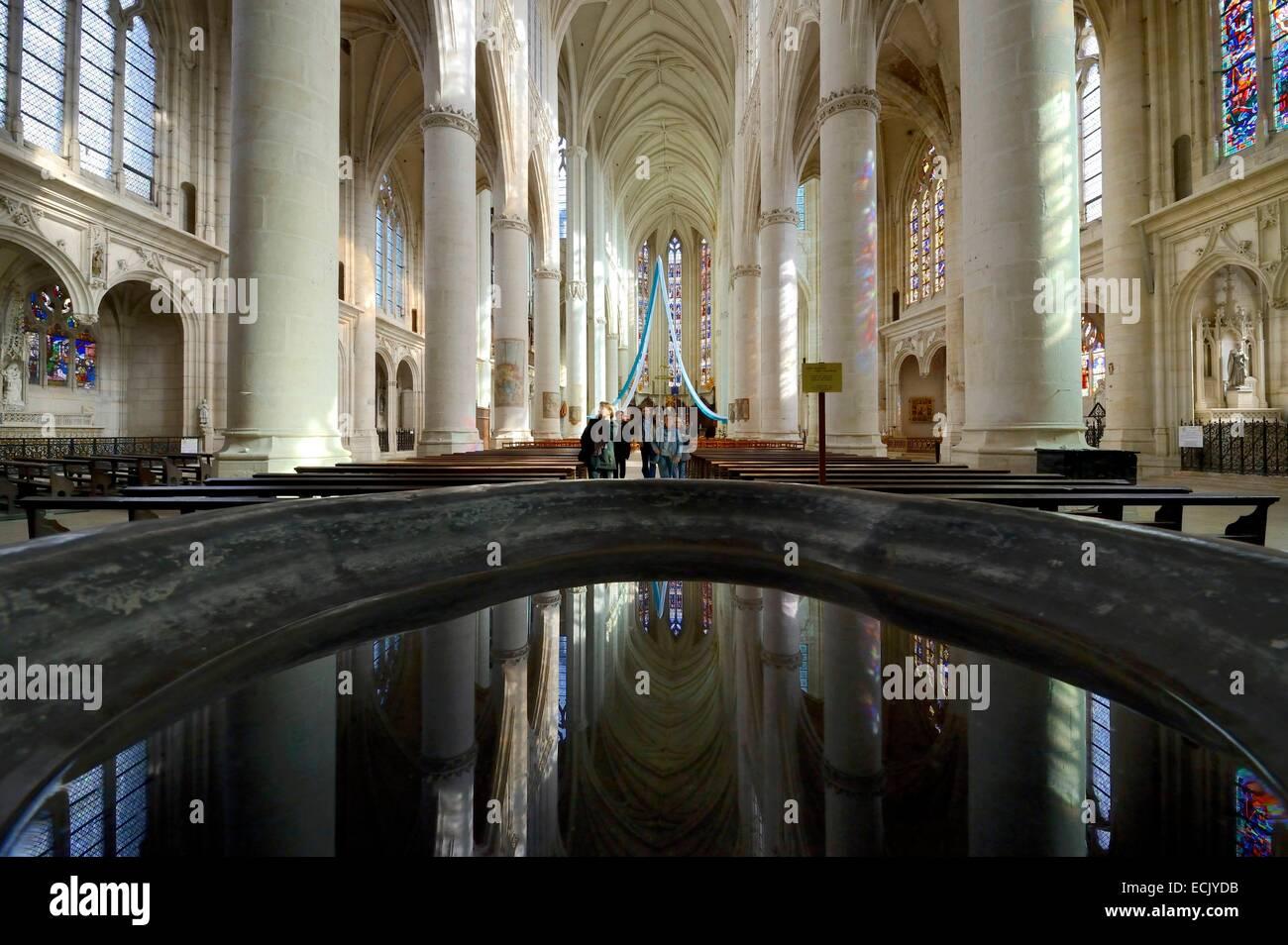 France, Meurthe et Moselle, Saint Nicolas de Port basilica, the curve nave - Stock Image