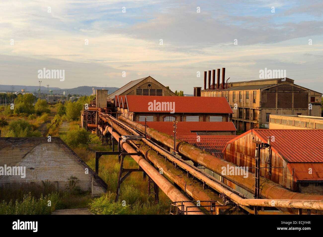 France, Moselle, Fensch Valley, Uckange steel mill, Blast furnace U4 park - Stock Image