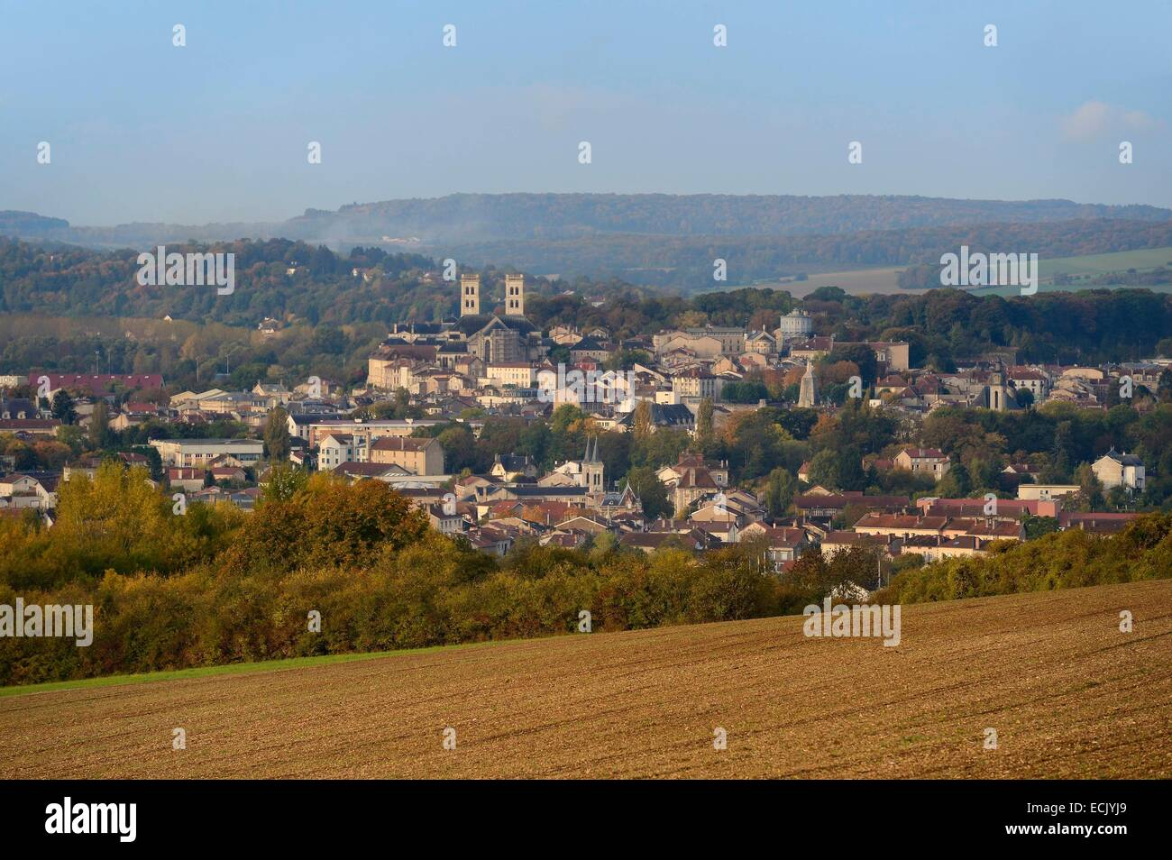 France, Meuse, the city of Verdun seen from a nearby hill - Stock Image