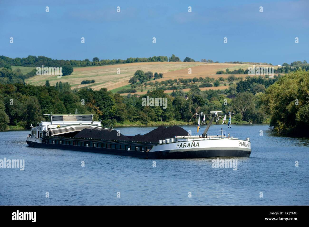France, Moselle, barge on the River Moselle at Malling - Stock Image