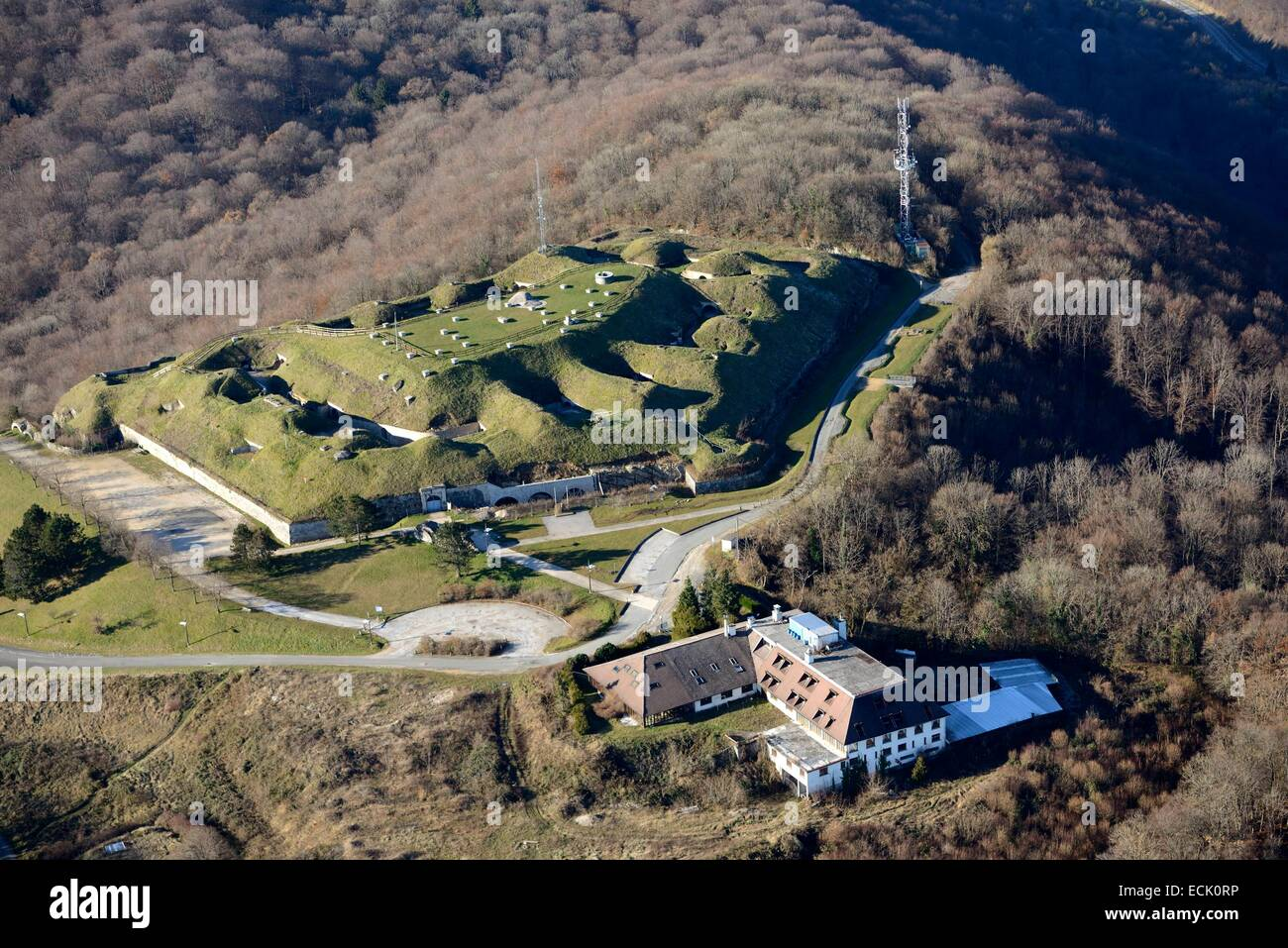 France, Doubs, Montbéliard, Bart, the height of Mount Bart autumn (aerial view) - Stock Image