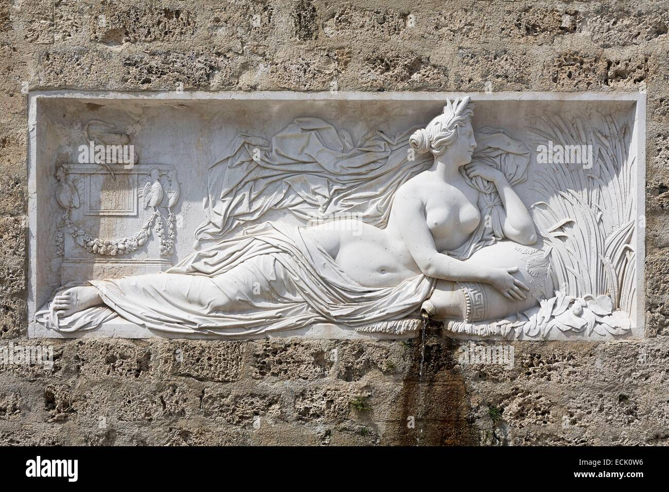 France, Isere, Uriage les Bains, Spa, Fountain of the Healer Goddess Hygeia, conducted in 1847 by Pierre Victor - Stock Image