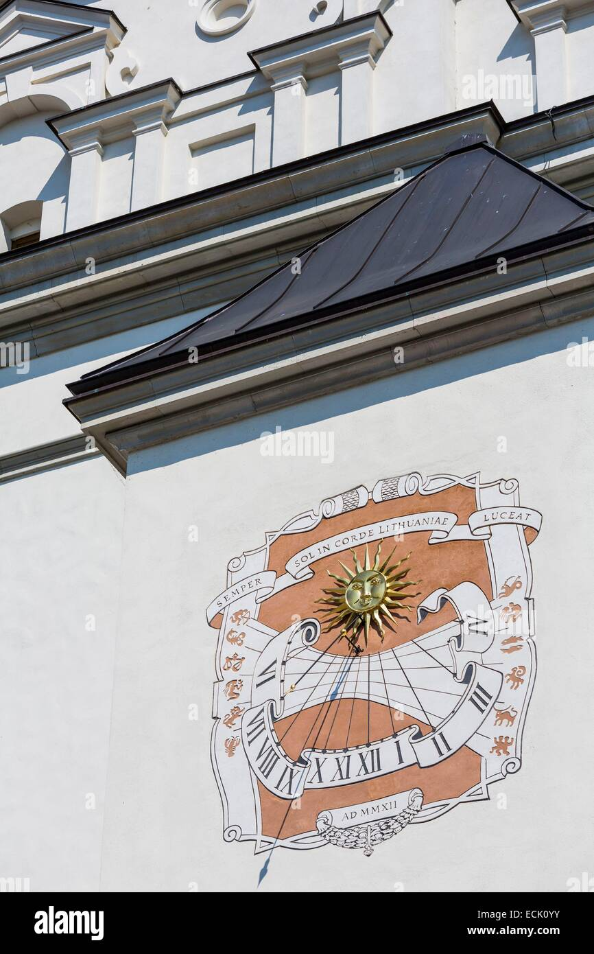 Lithuania (Baltic States), Vilnius, historical center listed as World Heritage by UNESCO, sundial on the facade Stock Photo
