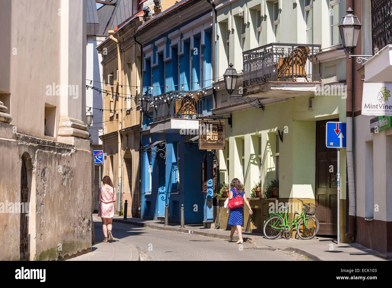 Lithuania (Baltic States), Vilnius, historical center listed as World Heritage by UNESCO, the street sv.ignoto gatvé Stock Photo