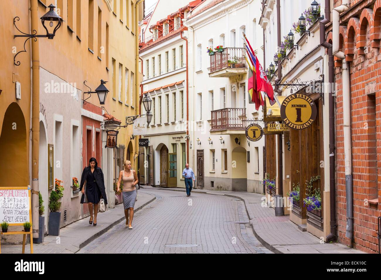 Lithuania (Baltic States), Vilnius, historical center listed as World Heritage by UNESCO, street Stikliu in the - Stock Image