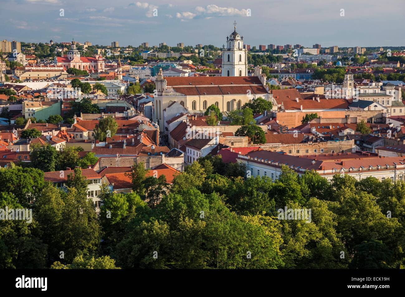 Lithuania (Baltic States), Vilnius, historical center listed as World Heritage by UNESCO, the city center seen since Stock Photo
