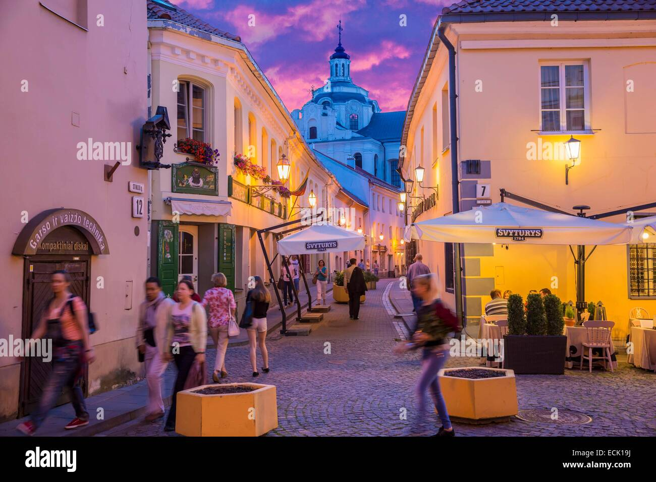 Lithuania (Baltic States), Vilnius, historical center listed as World Heritage by UNESCO, the small Jewish ghetto - Stock Image