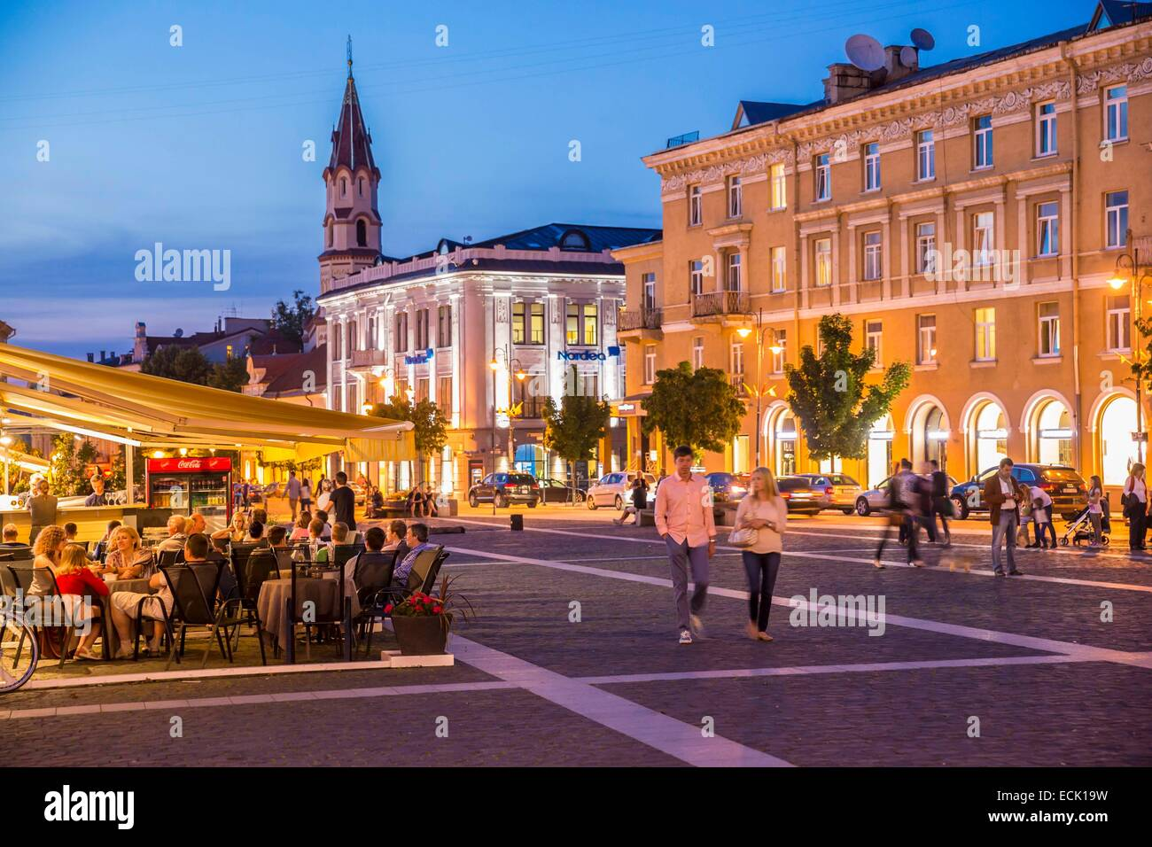 Lithuania (Baltic States), Vilnius, historical center listed as World Heritage by UNESCO, street Didzioji with a - Stock Image