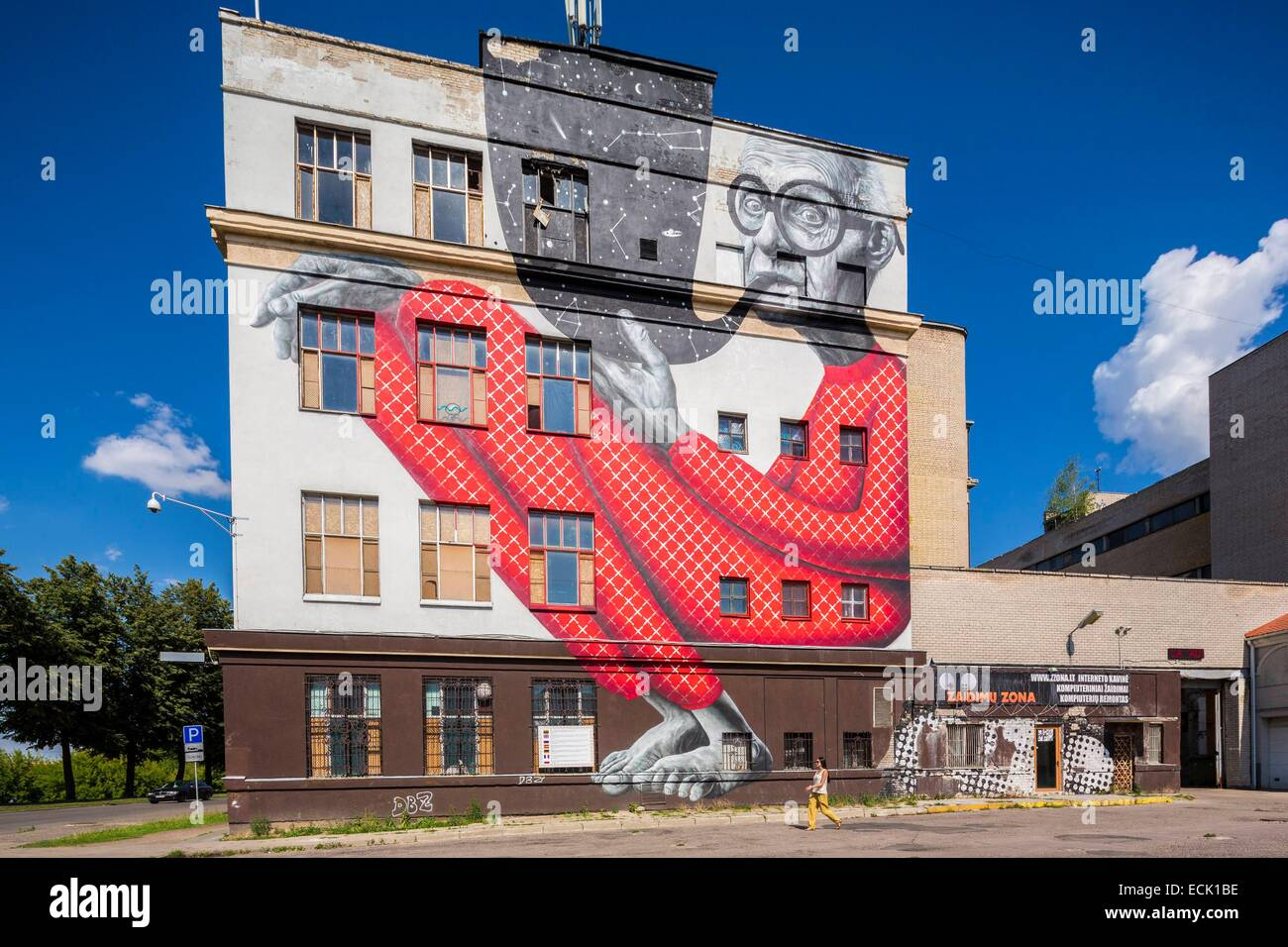 Lithuania (Baltic States), Kaunas County, Kaunas, mural Wise Grandpa by Gyva Grafika on the wall of the theatre, - Stock Image