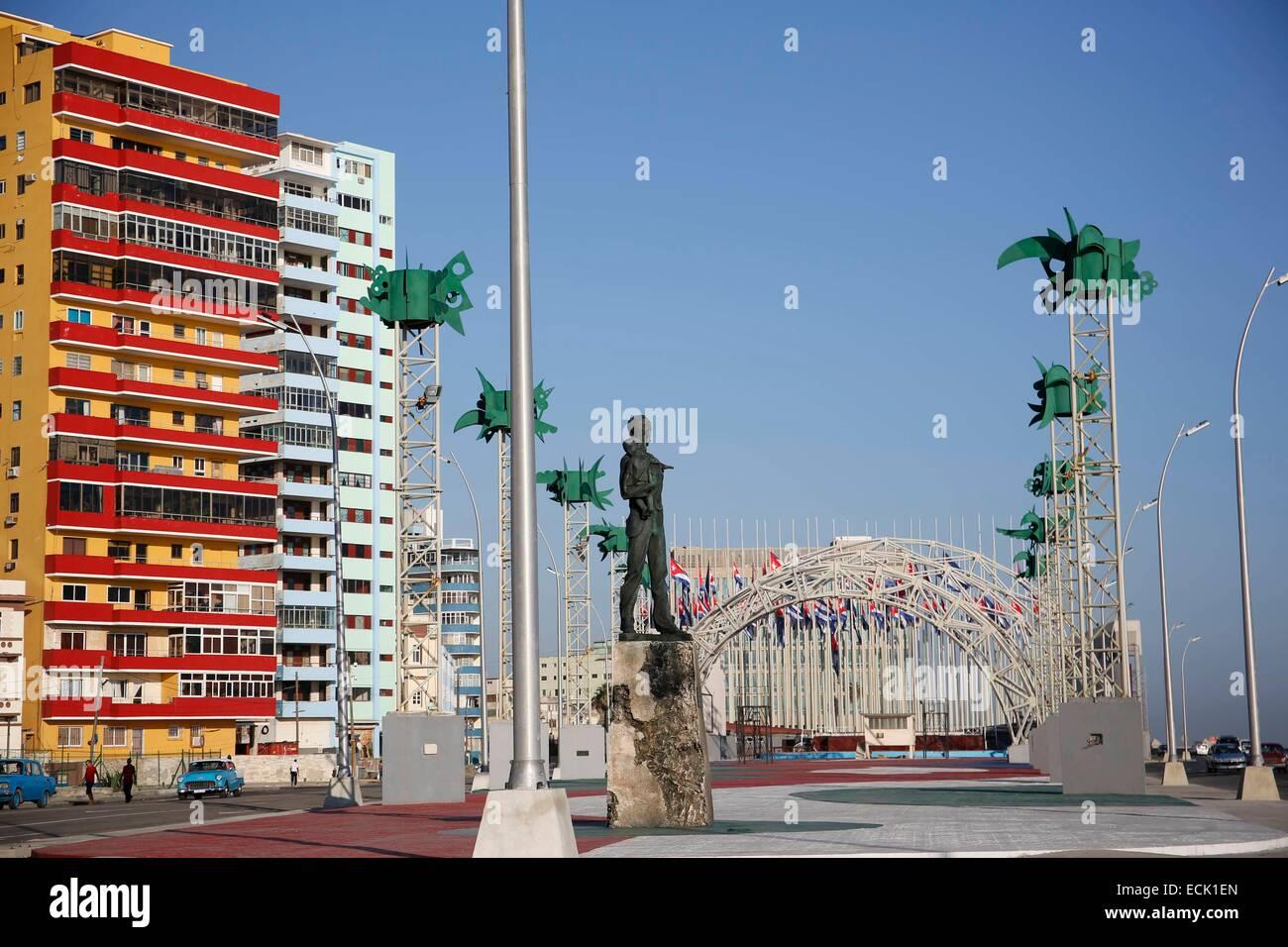 Cuba, La Havana, Maleco, wide boulevard along the sea - Stock Image