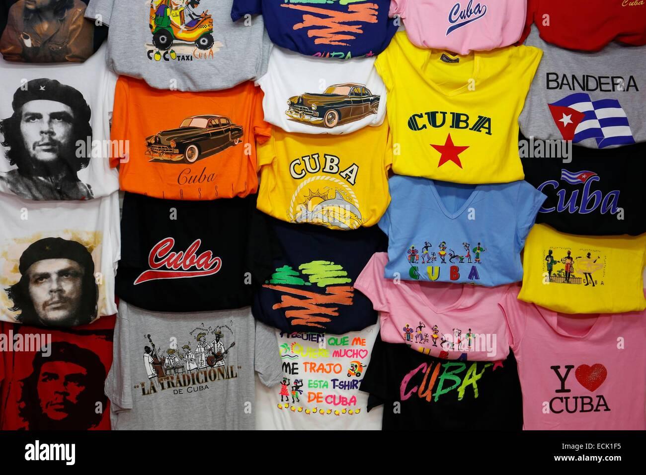 Cuba, La Havana, tee-shirts stall - Stock Image