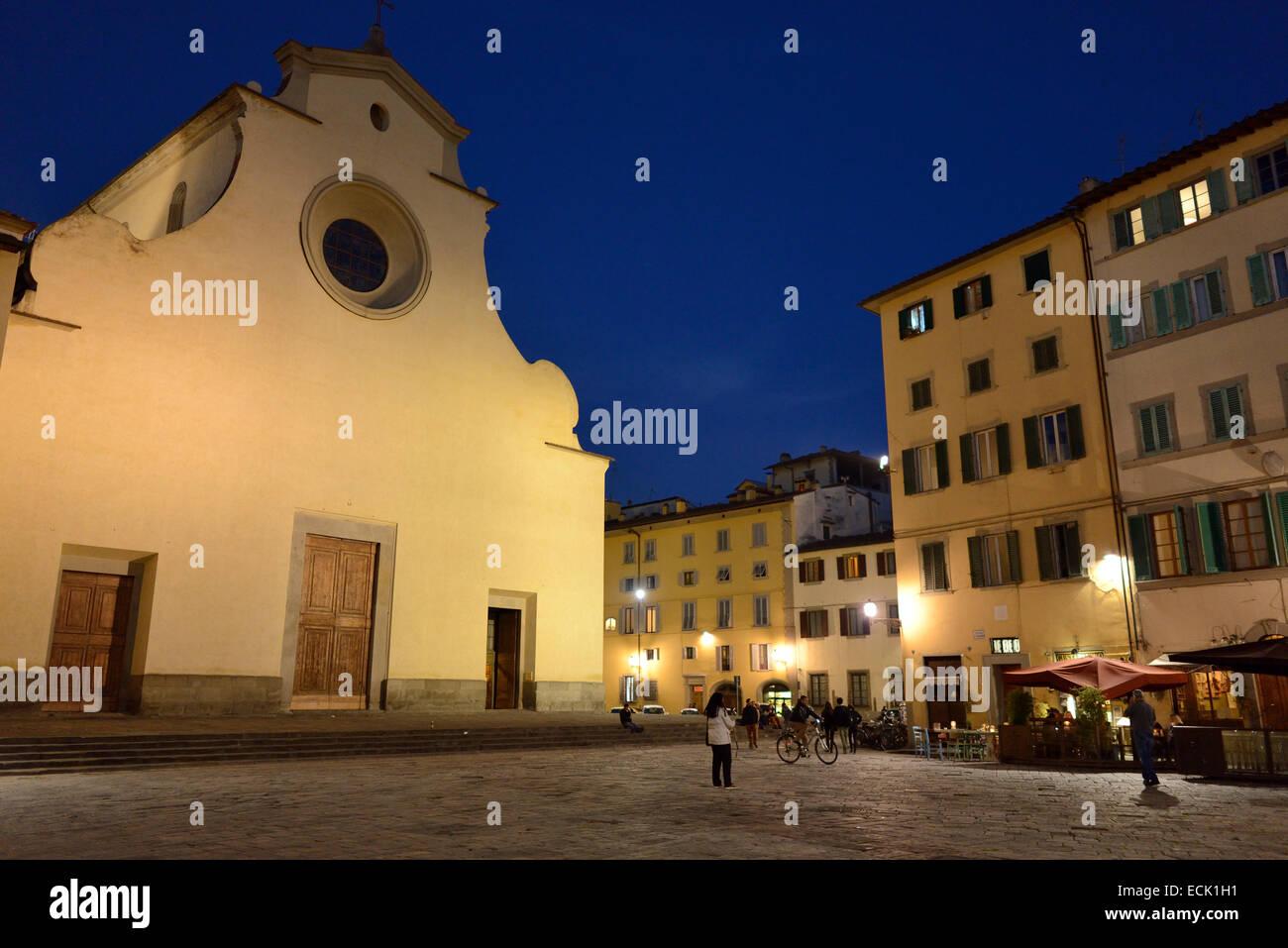 Florence. Italy. Basilica Santo Spirito, Piazza Santo Spirito, Oltrarno quarter. Stock Photo