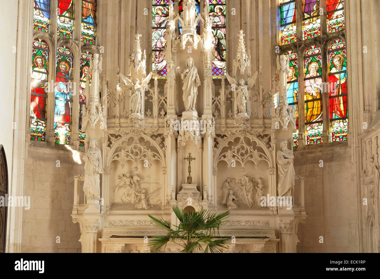 France, Pas de Calais, Auxi le ChΓteau, flamboyant Gothic style Church of Saint Martin dating from the 16th century, - Stock Image