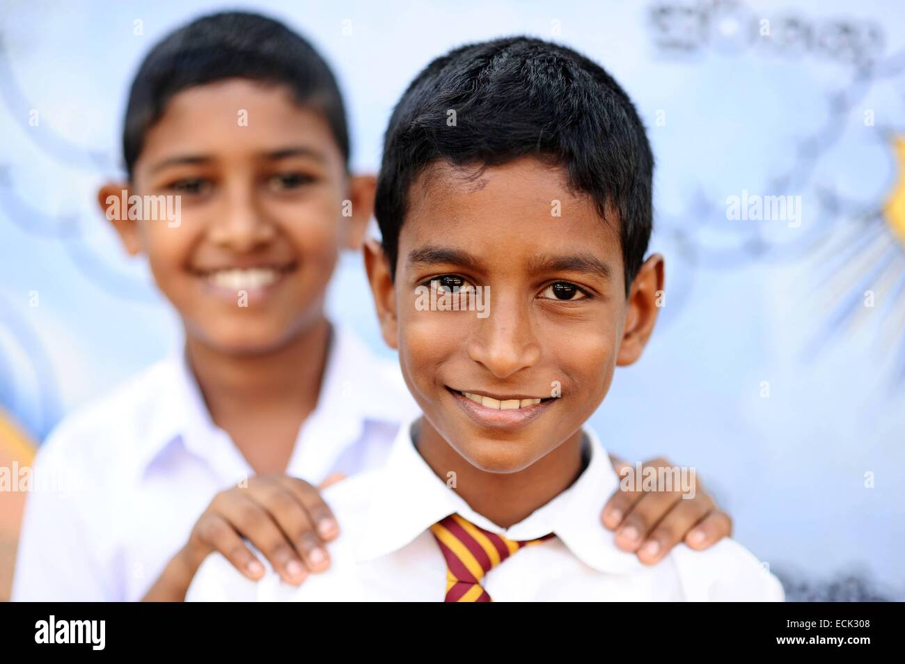 Sri Lanka, Colombo, portrait of 2 smiling schoolboys - Stock Image