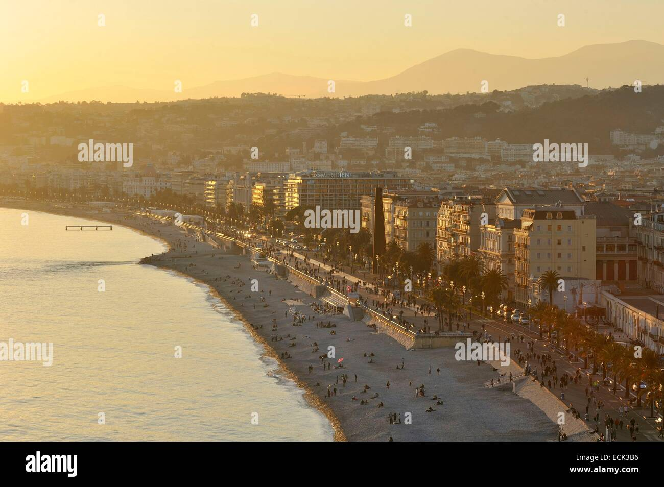 France, Alpes-Maritimes, Nice, the Promenade des Anglais from the castle hill Stock Photo