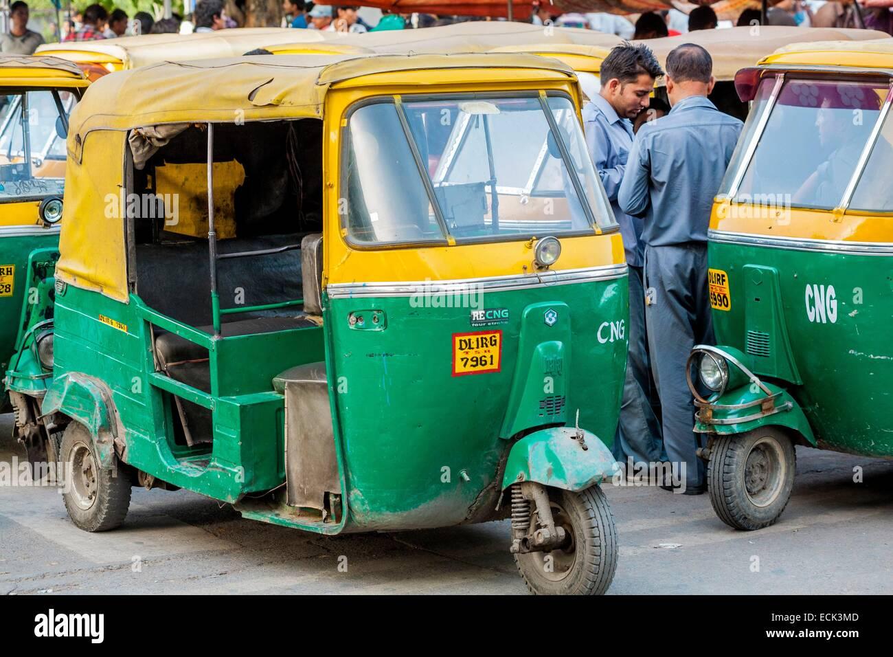 India, New Delhi, Connaught Place, motorized rickshaws - Stock Image