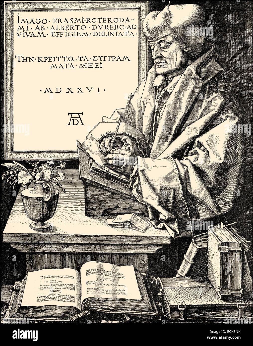 Erasmus Desiderius von Rotterdam, 1465 - 1536, a Dutch humanist, theologian, philosopher, scholar and author, Erasmus - Stock Image