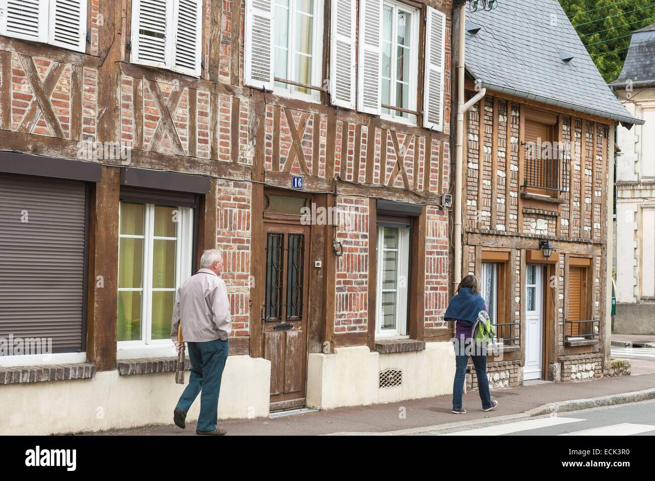 France, Seine Maritime, Neufchatel en Bray, typical timbered houses - Stock Image