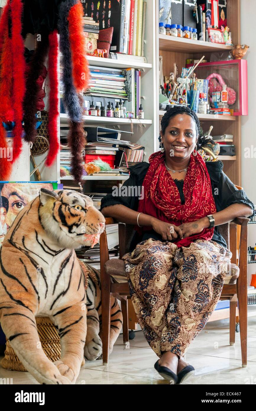 India, New Delhi, Mithu Sen artist home - Stock Image