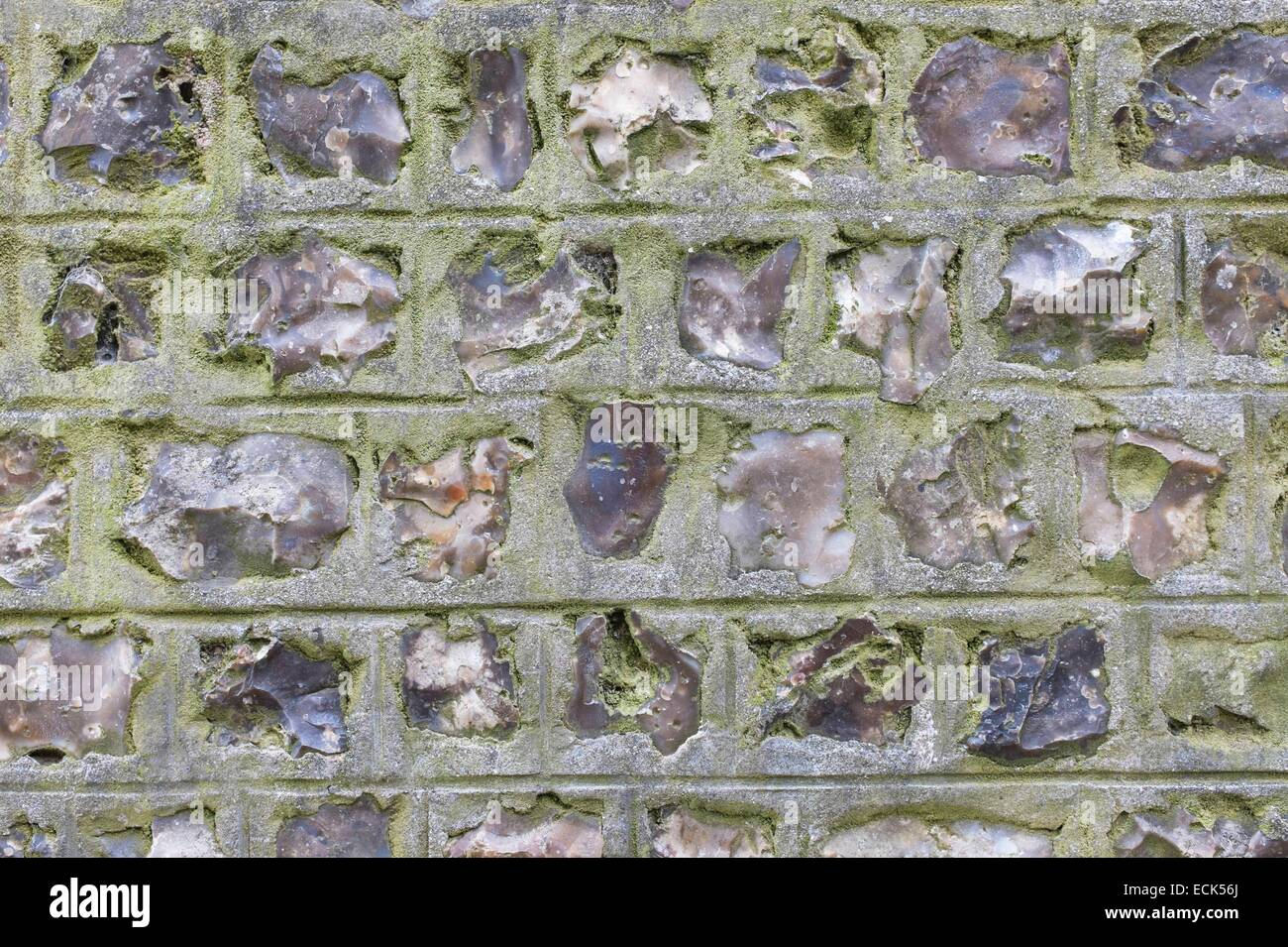France, Seine Maritime, Etretat, stone and flint typical architecture - Stock Image