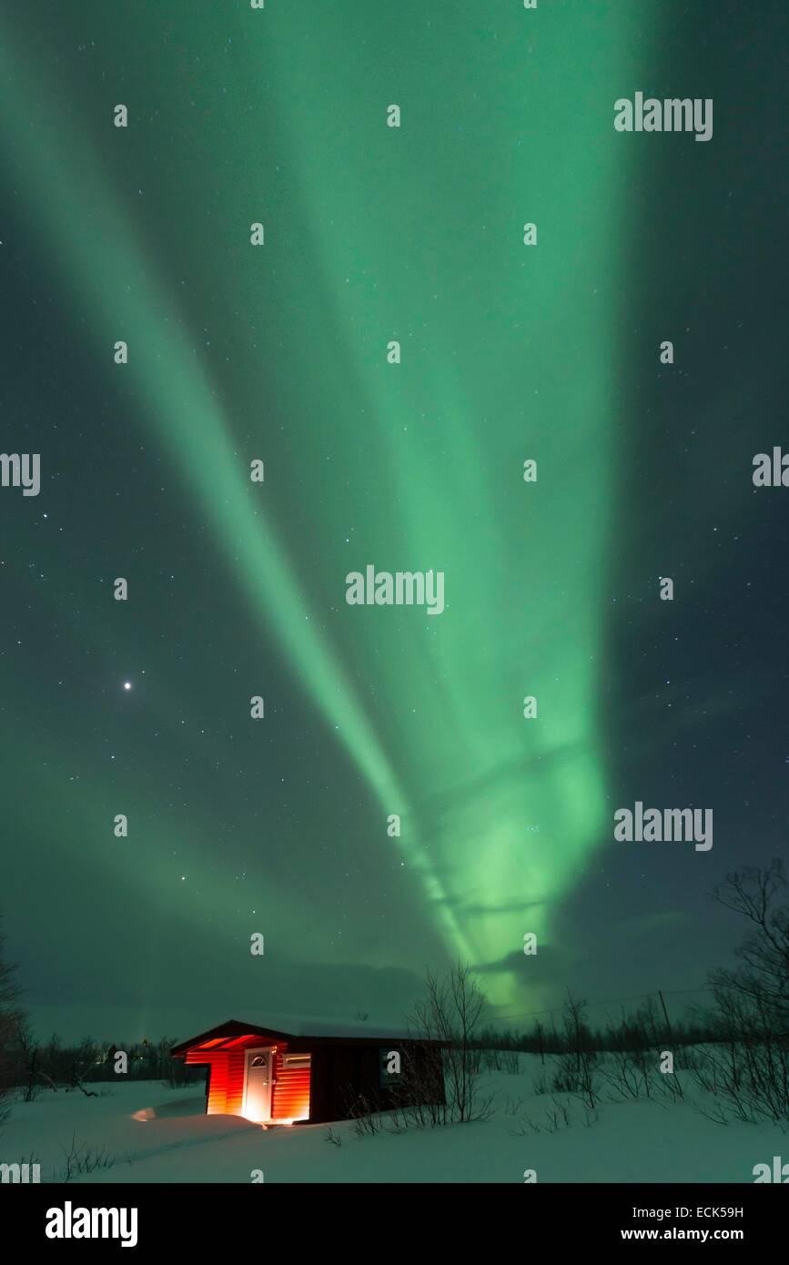 Sweden, Lapland, Norrbotten, GΣllivare, northern light in Swedish Lapland near Nikkaluokta - Stock Image