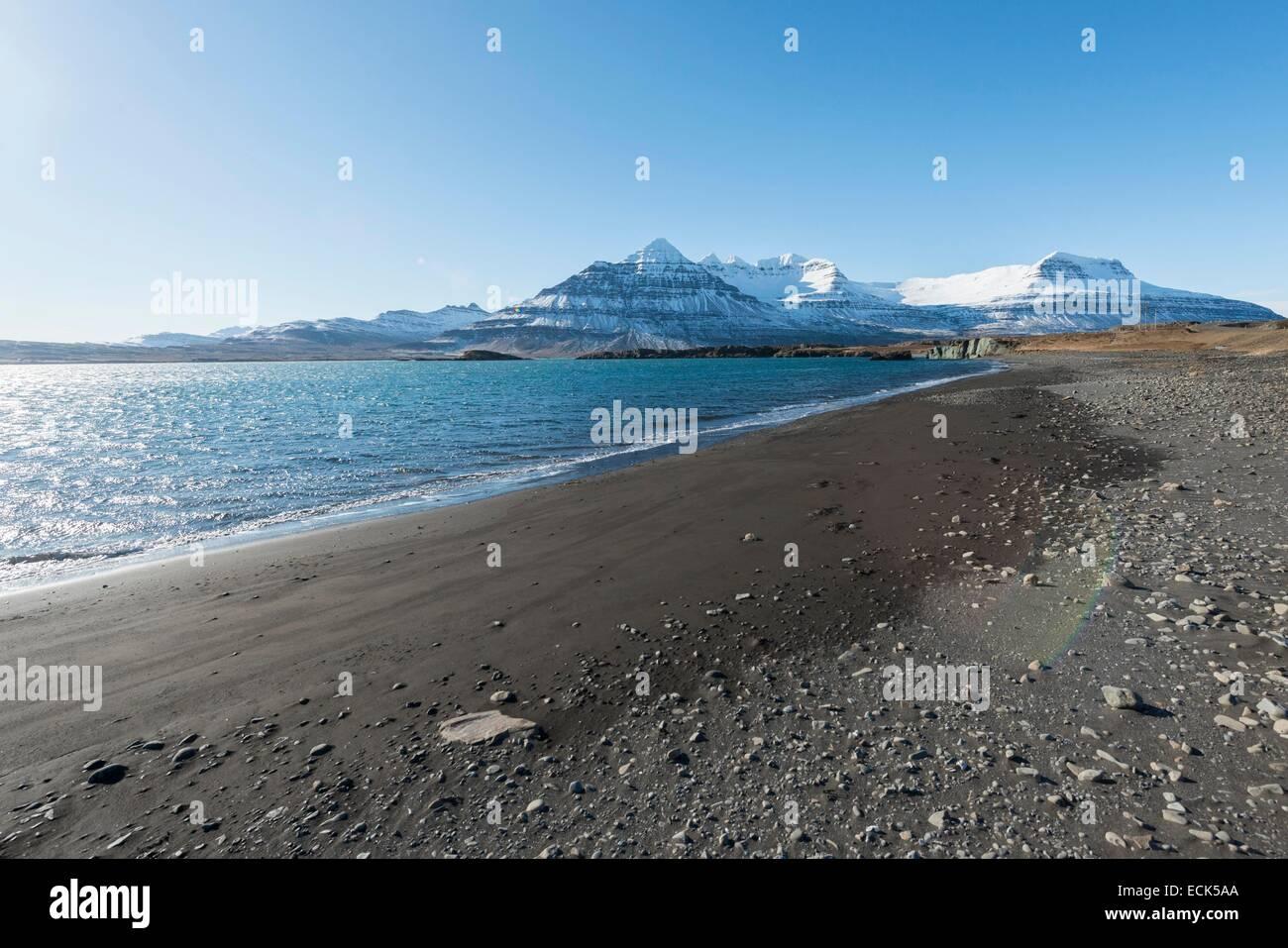 Iceland, Austurland region, landscape of the east fjords - Stock Image