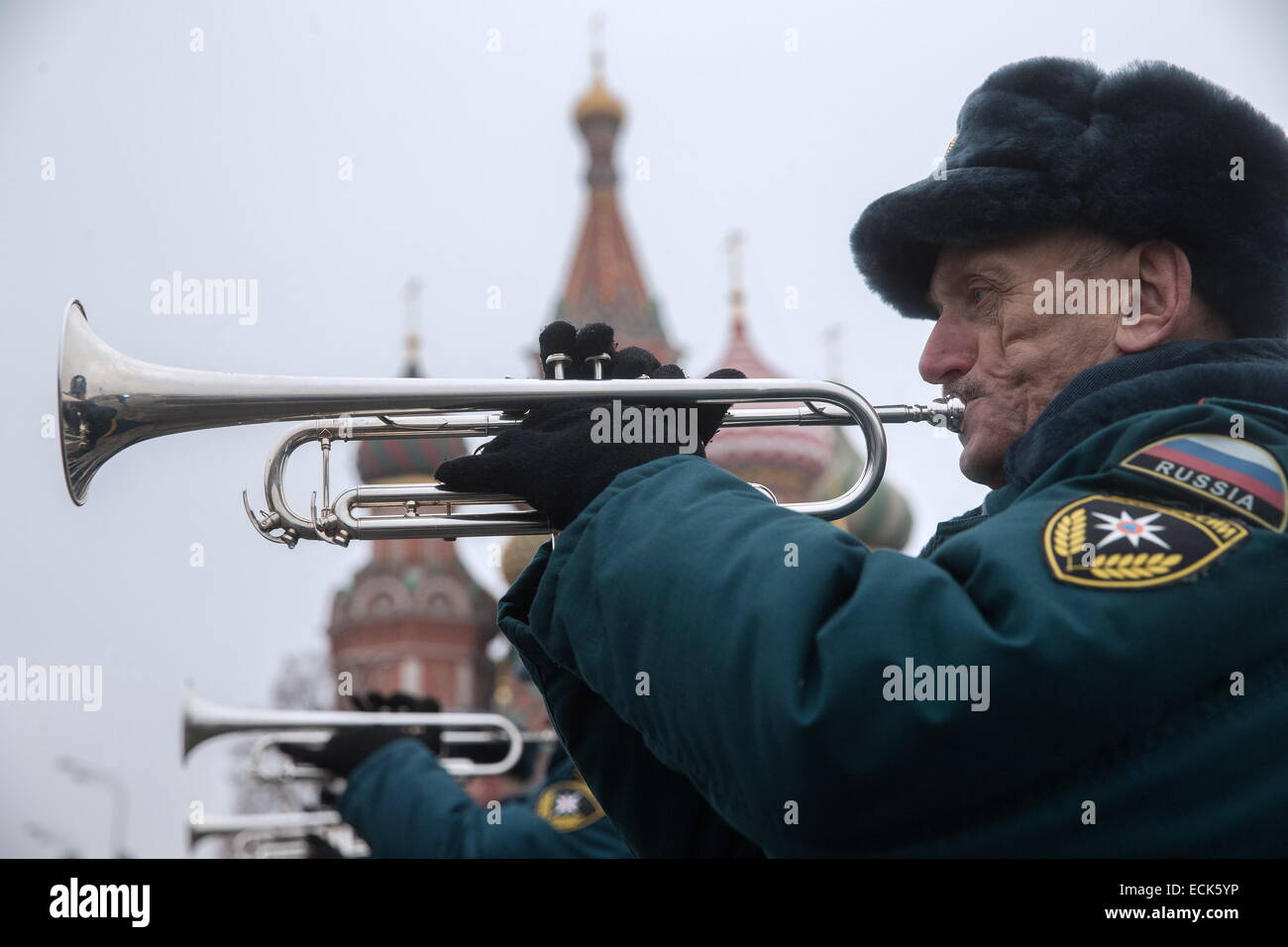 Moscow, Russia. 16th Dec, 2014. Russia's emergency situations ministry officers play wind instruments during - Stock Image