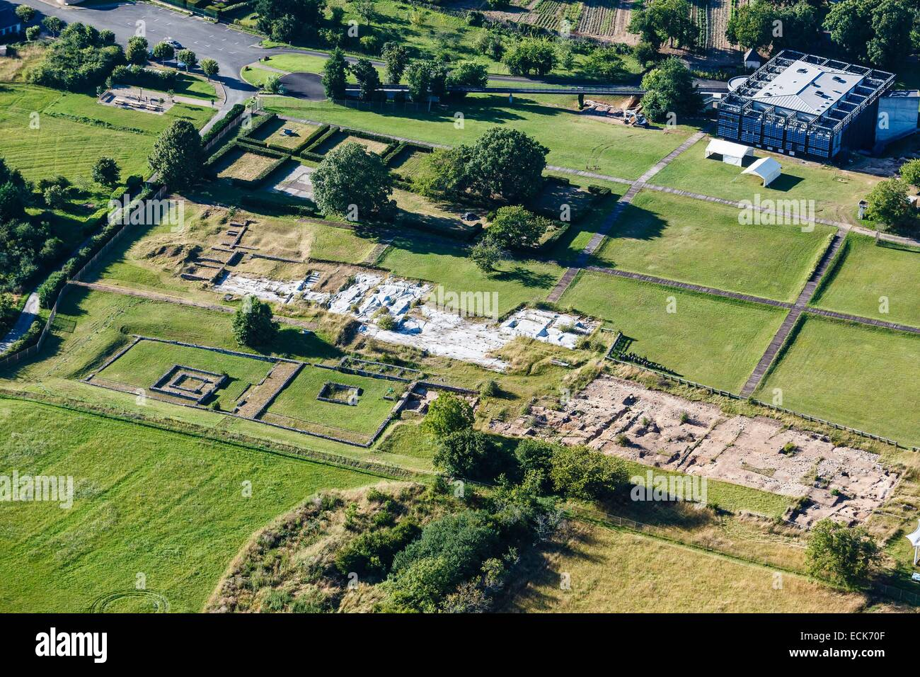 France, Indre, Saint Marcel, archaelogical excavation (aerial view) - Stock Image