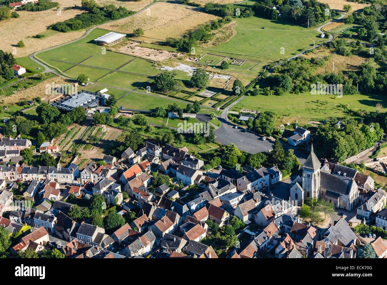 France, Indre, Saint Marcel, archaelogical excavation and the village (aerial view) - Stock Image