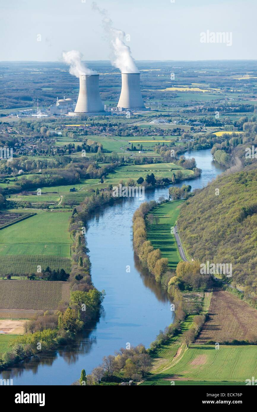 France, Vienne, Civaux, nuclear power station near the Vienne river (aerial view) - Stock Image