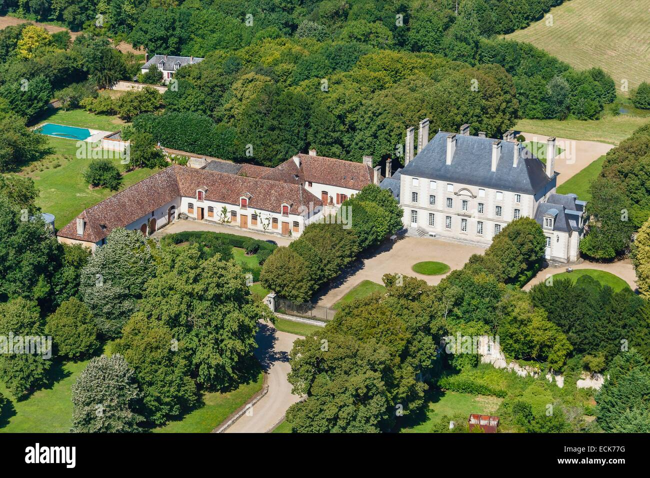 France, Vienne, Lhommaize, La Forge castle (aerial view) - Stock Image