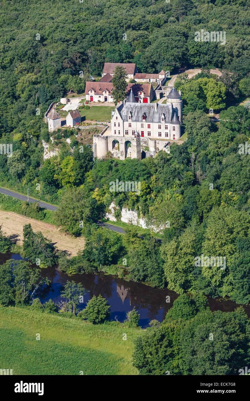 France, Vienne, Saint Pierre de Maille, La Guittiere castle (aerial view) - Stock Image
