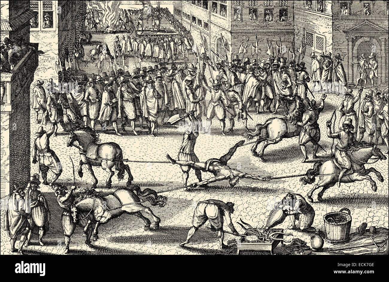 The execution of François Ravaillac, being pulled apart by four horses, he murdered King Henry IV of France in 1610, Stock Photo