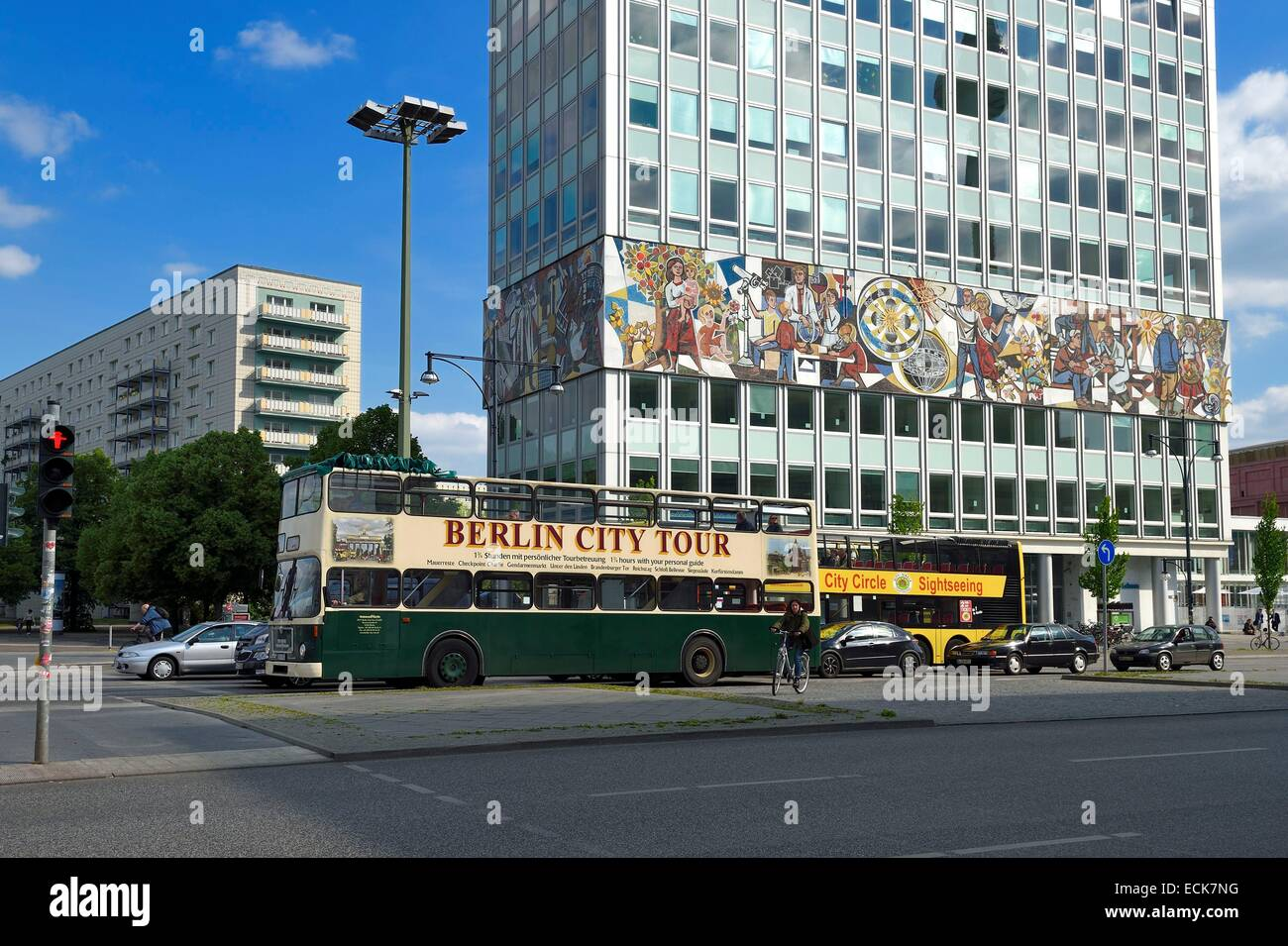 Germany, Berlin, Karl-Marx Allee, Haus des Lehrers (House of the teachers), the mural wrapping around the entire - Stock Image
