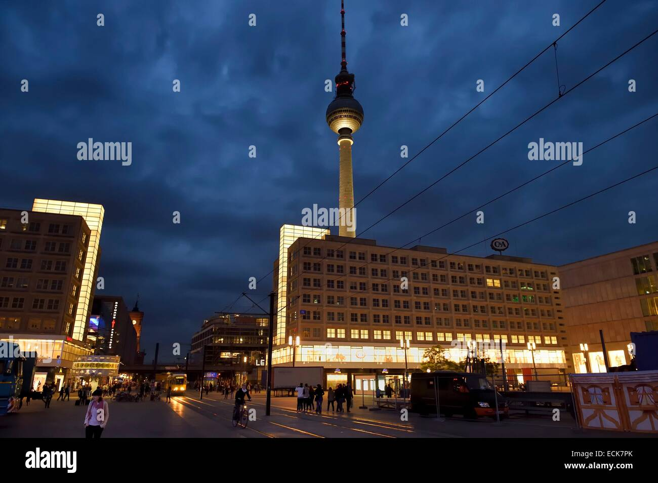 Germany, Berlin, Berlin-Mitte, Alexanderplatz and the TV tower - Stock Image