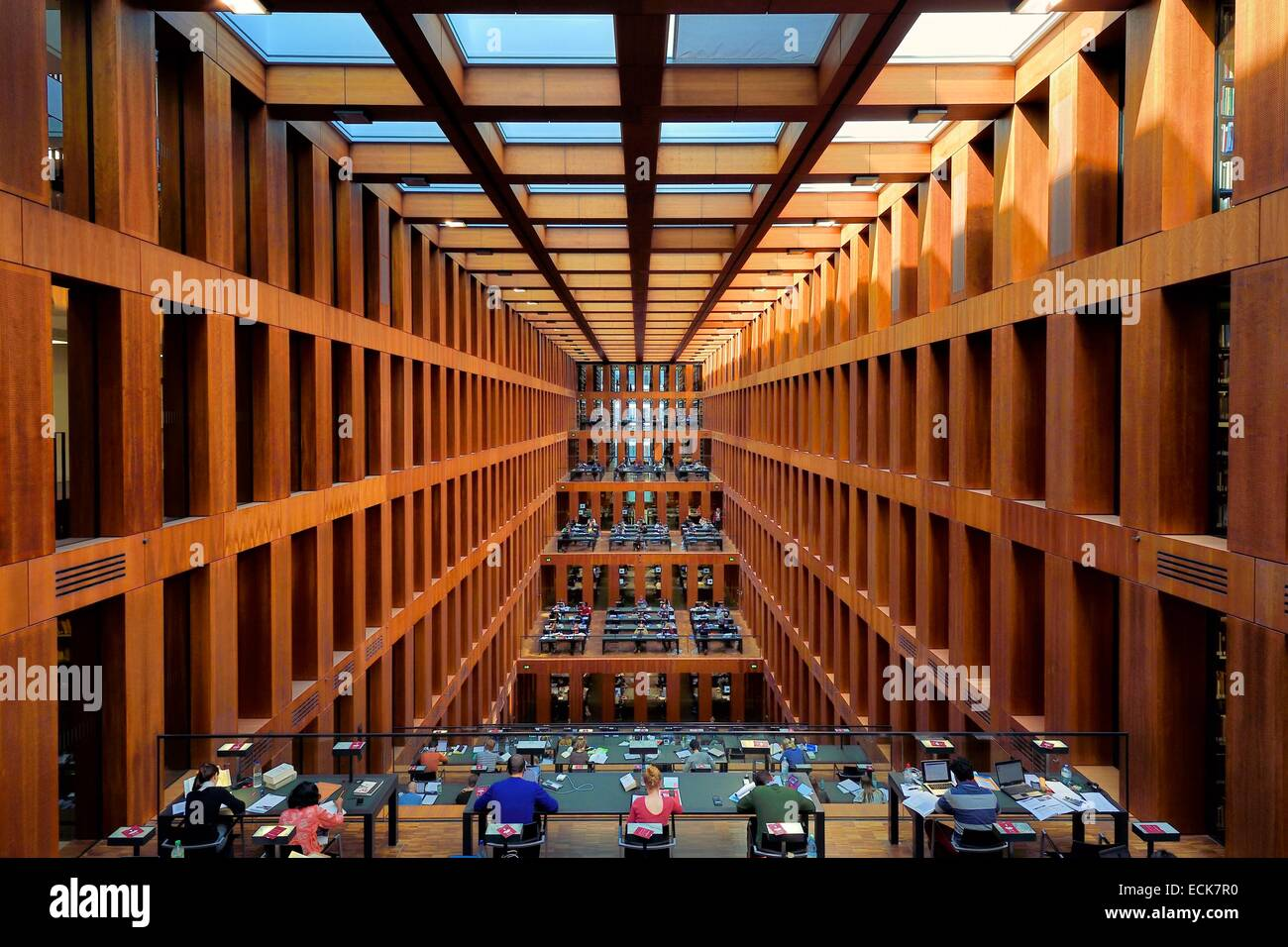 Germany, Berlin, Jacob und Wilhelm Grimm Zentrum, the Humboldt University library, built by Swiss architect Max - Stock Image