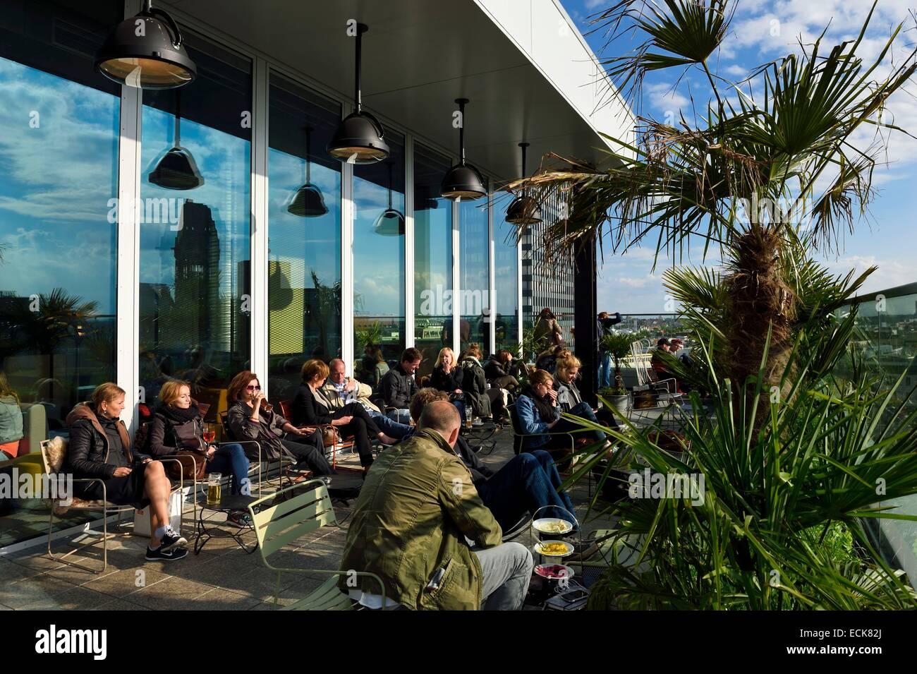 Germany, Berlin, Tiergarten district, Neni Berlin restaurant and monkey bar in the Bikini building - Stock Image