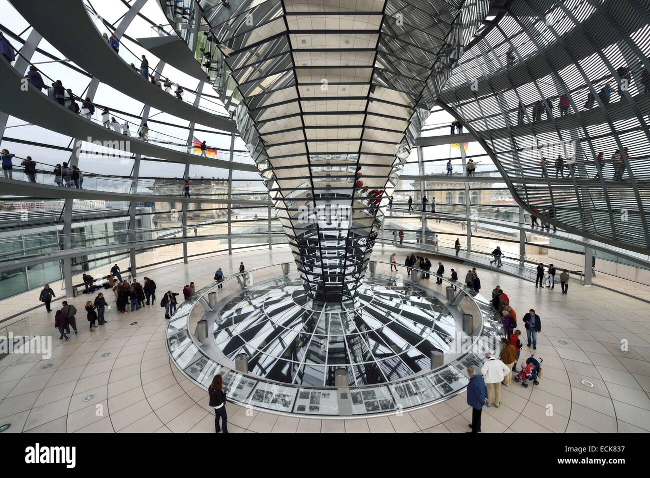 Germany, Berlin, Reichstag, Bundestag glass dome (German Parlement since 1999) by the architect Sir Norman Foster - Stock Image