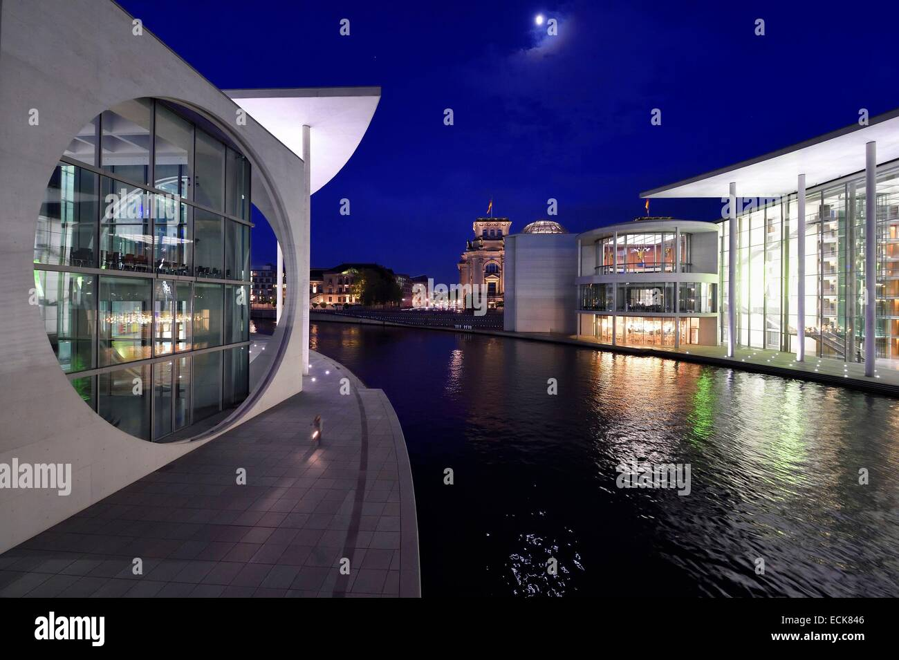 Germany, Berlin, Bundestag, the Paul-Lobe Haus right and the Marie Elisabeth Luders Haus left by architect Stephan - Stock Image