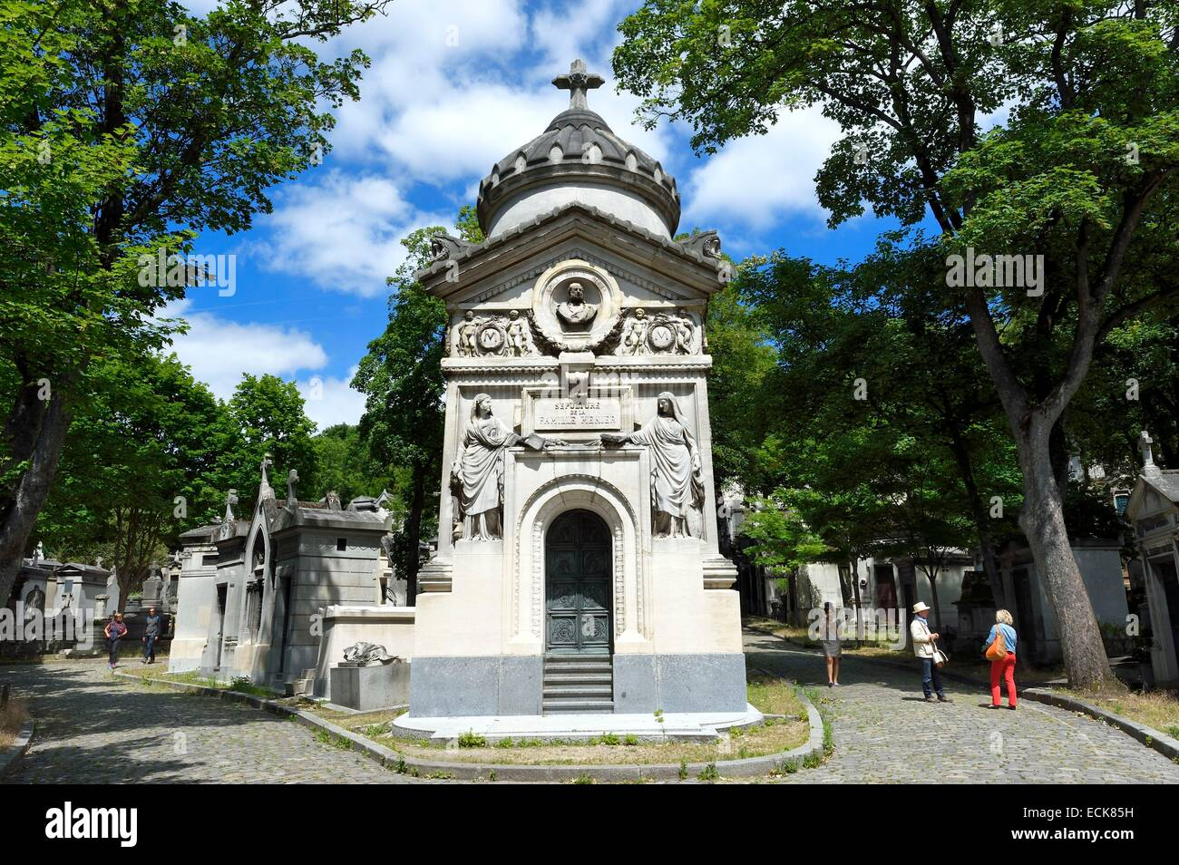 France, Paris, the Pere-Lachaise cemetery, grave of the Menier family - Stock Image