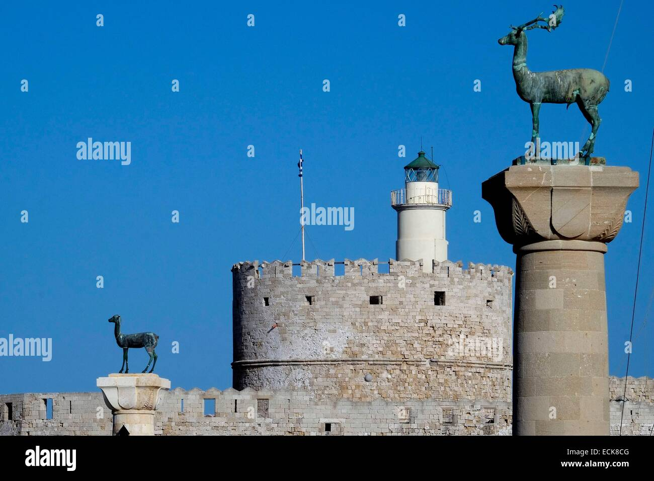 Greece, Dodecanese, Rhodes island, Rhodes, listed as World Heritage by UNESCO, fort Saint Nicholas protecting the - Stock Image