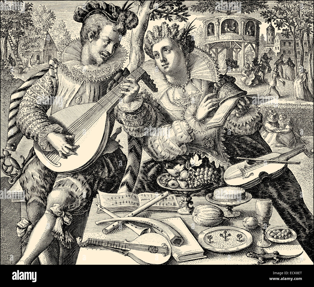 A couple making music, 16th century, Germany, Europe, ein Liebespaar musiziert, 16. Jahrhundert, Deutschland, Europa - Stock Image